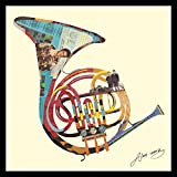 Empire Art Direct ''Funky French Horn'' Original Dimensional Collage Hand Signed by Alex Zeng Framed Graphic Wall Art
