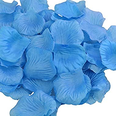 Monkeybrother 1000pcs Silk Rose Flower Petals for Wedding Table Confetti Bridal Party Flower Girl Decoration(Light Blue Silk)