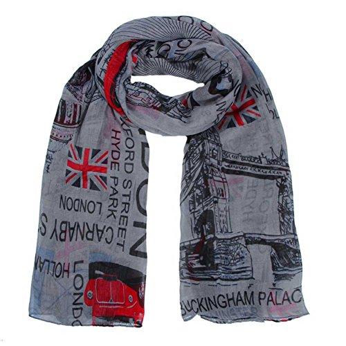 Écharpe Londres Châle Longue Imprimé 180x Drapeau r Souple Fashion New Lady Wrap 110cm 1 Stole 8years Femmes Grey vCFtqwxq