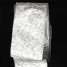 """Elegant Shimmering Silver Wired Chicago Polyester & Nylon Decorative Craft Ribbon 3"""" x 20 Yards"""