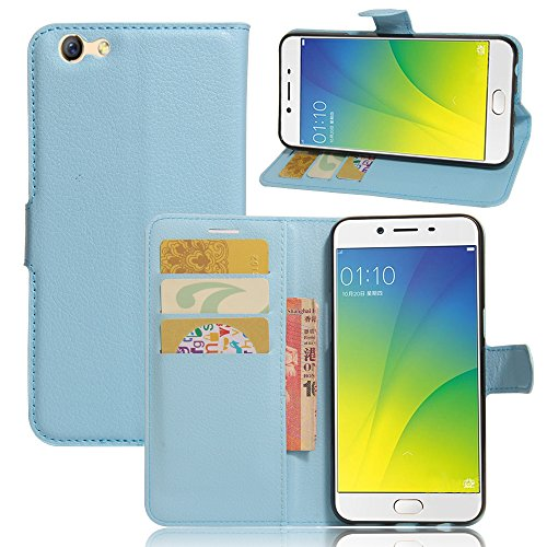 TOTOOSE Oppo F3 Case, Oppo F3 Leather Wallet Case Book Design with Flip Cover and Stand [Credit Card Slot] Cover Case for Oppo F3 - Blue