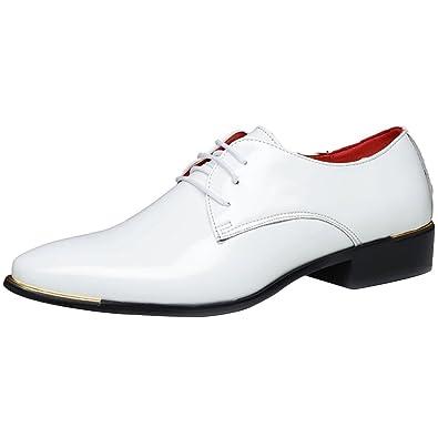 2897f57a910f04 wealsex Derby Cuir Vernis Chaussure de Ville à Lacets Homme Bout Pointu  Chaussure Affaire Bureau Costume