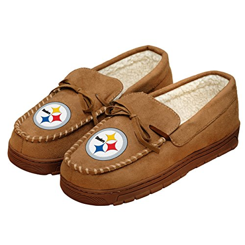 Football Mens Team Logo Moccasin Slippers Shoe - Pick Team (Pittsburgh Steelers, Medium) Gifts For Men