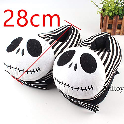 CHITOP The Nightmare Before Christmas- Jack Skellington Plush Shoes Home House Winter Slippers- for Women Men Stuffed Toys 28CM (B) ()
