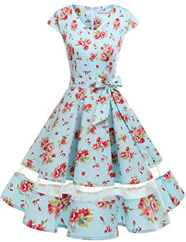 Audery Polka Partito Annata Da Swing Vestito Rockabilly Abito Blue Cocktail Gardenwed Con Little Maniche Retrò Flower Corte 1950 dgqxI0