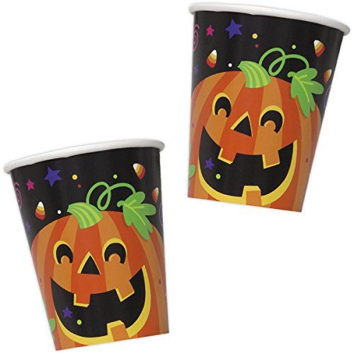 Cute Happy Halloween Phrases (8 Happy Halloween Friendly Pumpkin Party Disposable 9oz Paper Cups)