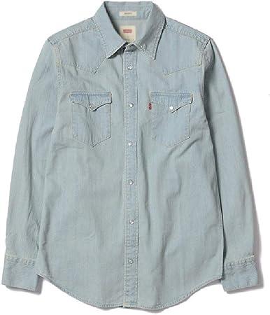 Americana Ciudad Color Puro Camisa Primavera otoño clásico algodón Lavado Denim Camisa Macho Manga Larga Blusa Suelta: Amazon.es: Hogar