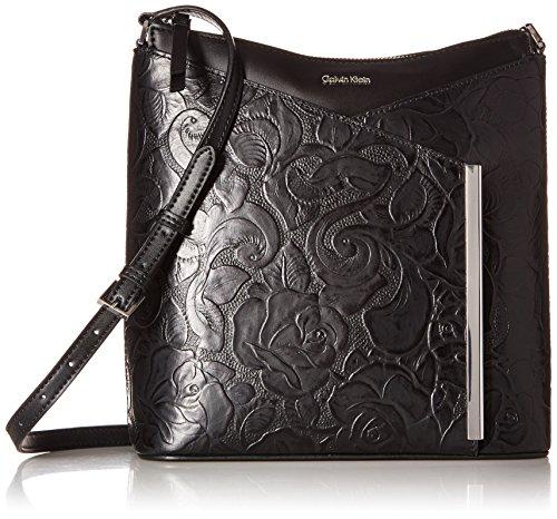 Calvin Klein Mara Tooled Roses Leather Crossbody, Black Combo -