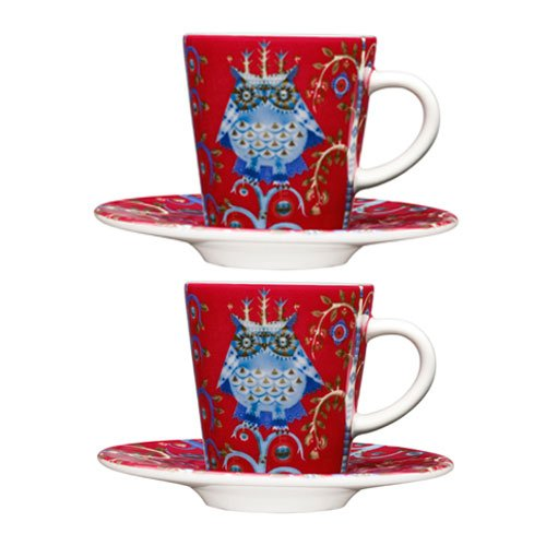 Cup Espresso Taika - Iittala Taika Set of 2 Red Espresso Cups And Saucers, Gift Set