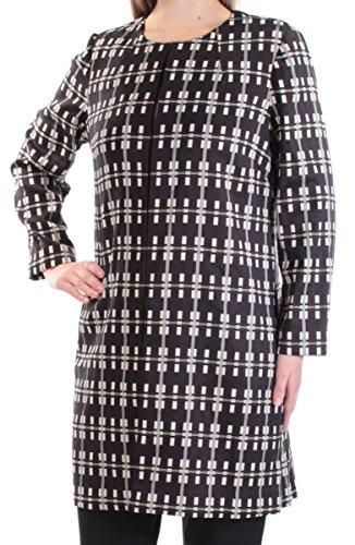 Alfani 109 Womens New 1365 Black Beige Printed Button Down Jacket M B+B (Alfani Womens Jacket)