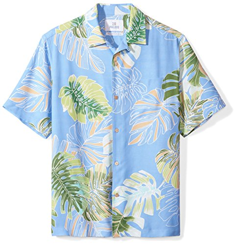 28 Palms Men's Relaxed-Fit 100% Silk Tropical Hawaiian Shirt, Sky Blue Banana Leaf, Medium