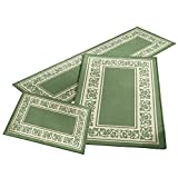 Collections Etc Floral Border 3pc Accent Rug Set, Sage
