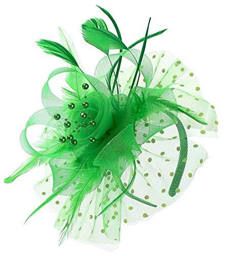 - Mycharm Fascinators Hat for Women Wedding Feather Flower heandbands Party Derby Headbands Clip Tea Party Headwear (Green)