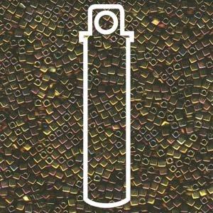 Gold Iris Tiny 1.8mm Square Cube Miyuki Japanese Glass Beads 8 Gram Tube