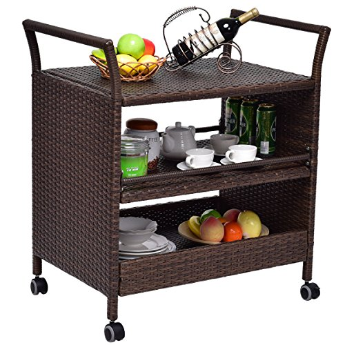 TANGKULA Patio Wicker Serving Cart Portable Rolling Wicker Bar Cart Kitchen Trolley Dining Storage Cart Storage Shelves Rack Indoor/Outdoor Furniture, Brown by TANGKULA