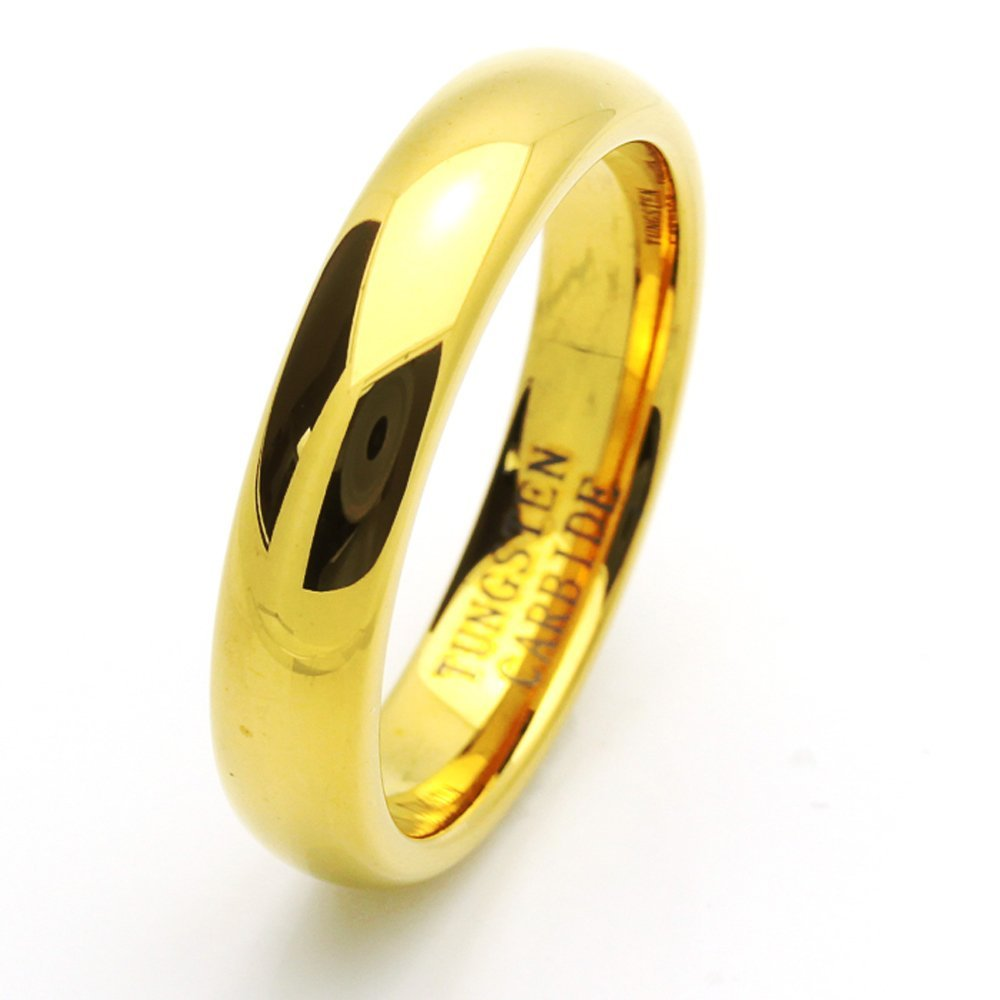 Double Accent 5MM Comfort Fit Tungsten Carbide Wedding Band High Polish Domed Gold Tone Ring (7 to 15), 11.5