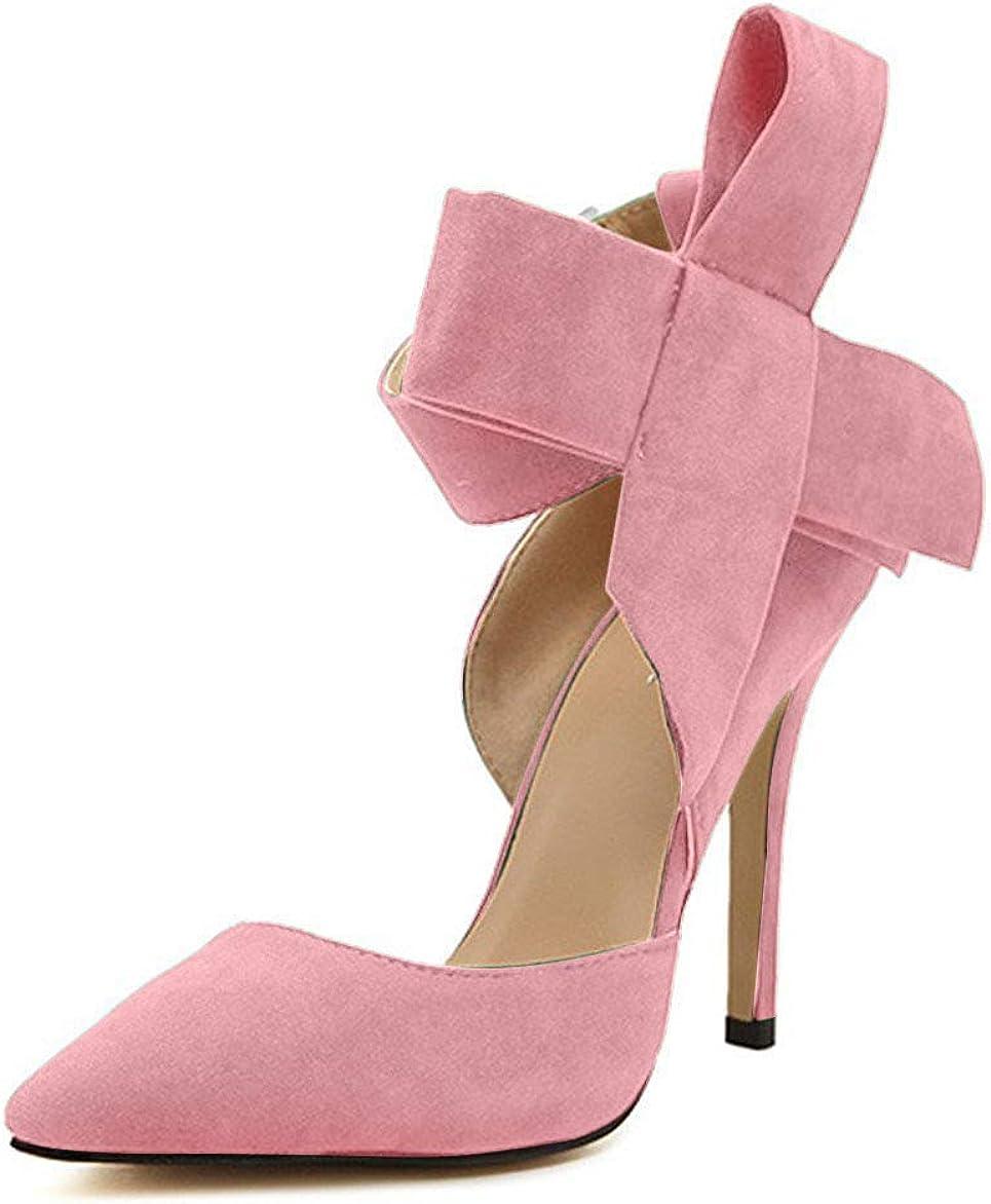 MMJULY Womens Pointy Toe High Heel Stiletto Big Bow Pumps