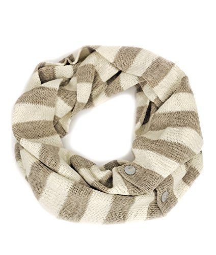 Alpaca Striped Scarf (100% Baby Alpaca 2-in-1 Convertible Striped Infinity Circle Scarf - Unisex (Iced)