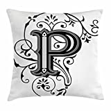 Letter P Throw Pillow Cushion Cover by Ambesonne, Floral Swirls...