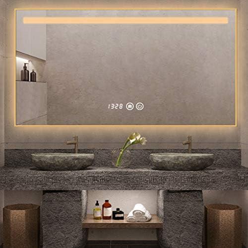 浴室用化粧鏡 照明付きLEDバスルームミラー、調光可能な長方形タッチウォールマウントバニティミラー、ディマー&ライト、デフォグと時間温度表示