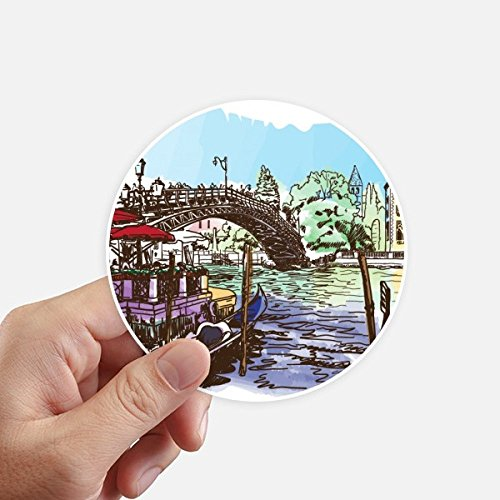 DIYthinker Italy Venice Landmark Watercolour Round Stickers 10cm Wall Suitcase Laptop Motobike Decal 8pcs