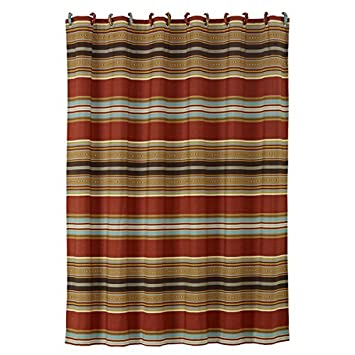 Southwestern Shower Curtain Horizontal Striped Shower Curtain  Luxe Gold Red  Blue  Mexican  NativeAmazon com  Southwestern Shower Curtain Horizontal Striped Shower  . Red And Blue Shower Curtain. Home Design Ideas