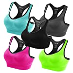 FITTIN Racerback Sports Bras – Padded Seamless High Impact Support for Yoga Gym Workout Fitness