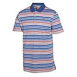 Puma Golf Boy's YD Stripe Polo Tee, White/Surf The Web Blue, Small