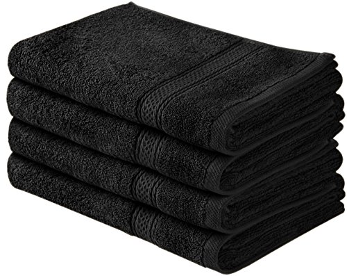Utopia Towels Cotton Large Hand Towels (Black, 4-Pack,16 x 28 inches) - Multipurpose Use for Bath, Hand, Face, Gym and Spa