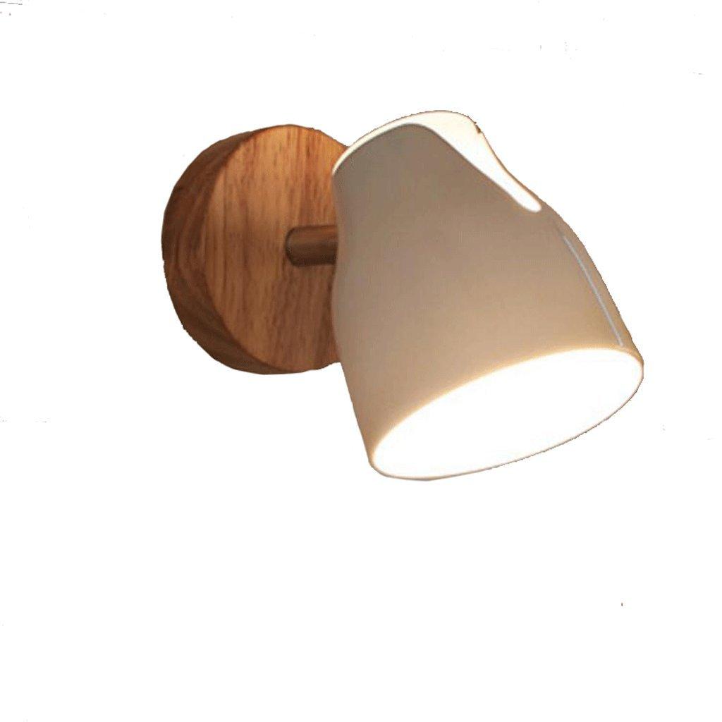 YYF lampada a muro Lampada da comodino originale in legno da scrivania Lampada da lettura da tavolo moderna Lampada da bagno a specchio minimalista rotante (Colore : Natural wood-Single Head/W10cm)