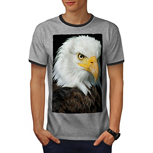 wellcoda Eagle Photo Wild Animal Mens Ringer T-Shirt, Eye Graphic Print Tee Heather Grey/Heather Dark Grey M - Eye Ringer T-shirt