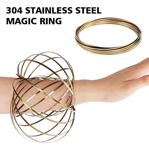 HAS 304 Stainless Steel Firm Flow Ring Magic Bracelet Toy for Stress Relief Kinetic Science Educational Spring Ring Multi - Sensory Interactive Cool Dance Prop (Gold)