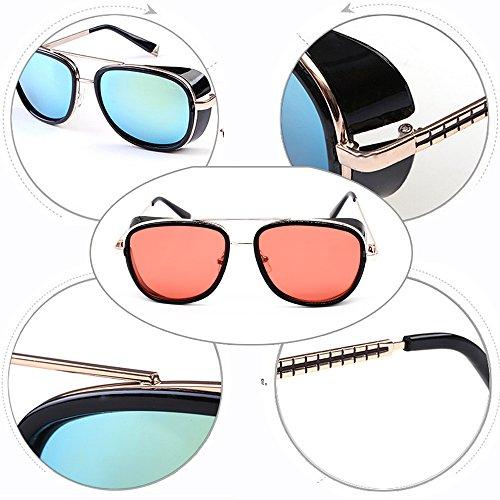 7f122ea900a7 Kindoyo Gold Men For Mirrored amp  lens frame Women Sunglasses Vintage  Unisex Black red Steampunk .