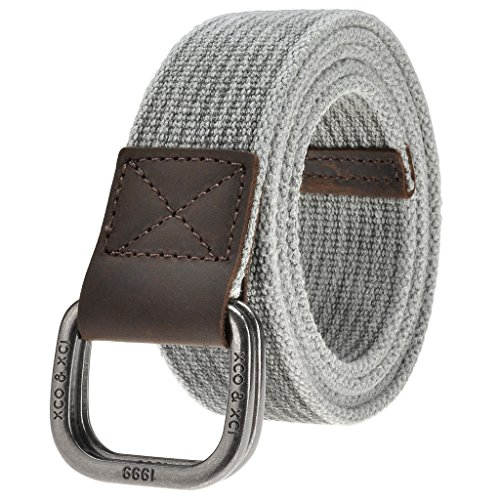 Casual Canvas Belt (Ayliss Men's Double D-Ring Canvas Belt Genuine Leather Trimming Casual Belt,#3)