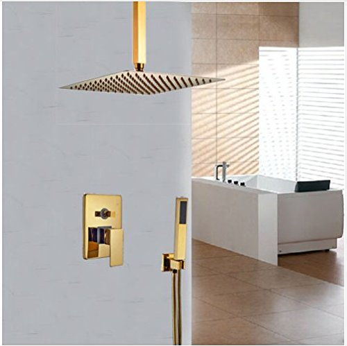 Gowe Luxury Ceiling Mounted Golden Polish Shower Faucet Single Lever 8-in Square Shower Set Mixer Taps 0