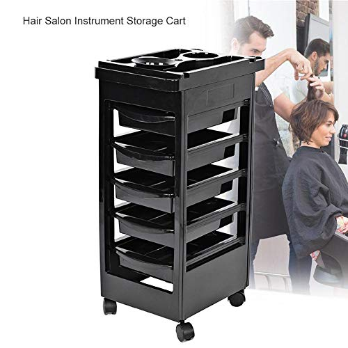 SOULONG Salon SPA Trolley Storage Cart, Beauty Salon Rolling Trolley, Hair Salon Instrument Storage Cart Adjustable Height Trolley Beauty Tools with 5 Drawers