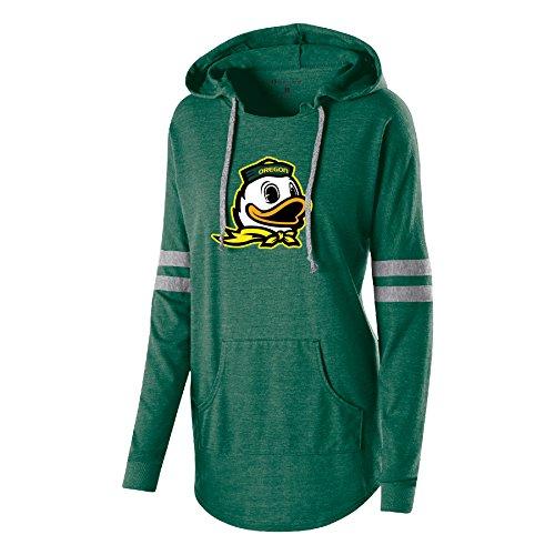 Ouray Sportswear NCAA Oregon Ducks Women's Hooded Low Key Pullover Sweatshirt, Vintage Forest/Vintage Grey, -