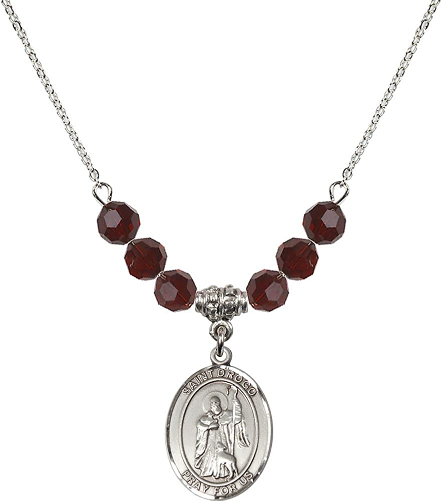 18-Inch Rhodium Plated Necklace with 6mm Garnet Birthstone Beads and Sterling Silver Saint Drogo Charm.