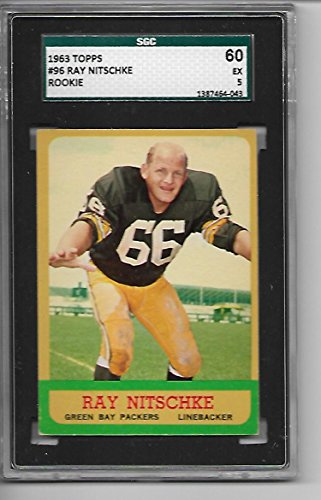 - 1963 TOPPS FOOTBALL RAY NITSCHKE ROOKIE #96 SGC 60-5 EXCELLENT GREEN BAY PACKERS