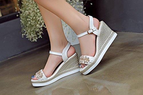 Carolbar Womens Glitter Rhinestones Buckle Shiny Fashion Date Party Dress Open Toe Wedges Sandals White J9ed2ohgl