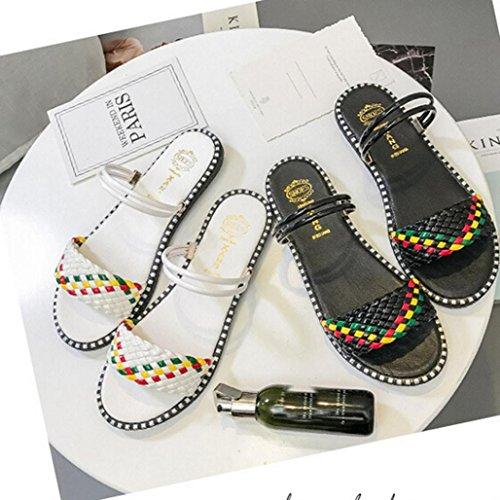 Transer® Damen Flach Slipper/Sandalen Gürtel Schwarz Weiß Leder+Gummi Mischfarbe Hausschuhe Schwarz