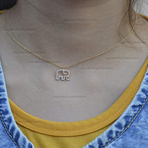 - Genuine SI Clarity G Color Pave Diamond Charm Choker Elephant design Pendant Necklace Solid 14k Yellow Gold Handmade minimalist Jewelry Gift