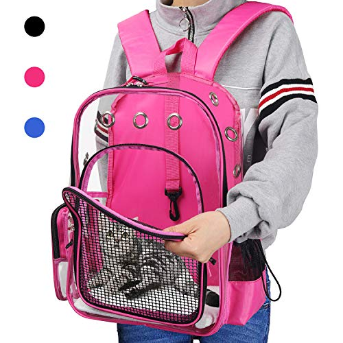 0f18465d965c YUDODO Pink Pet Clear Carrier Backpack Adjustable Transparent Pet Cat Dog  Backpack Carrier Travel Bag for Small Animals, Designed for Walking,  Outdoor ...
