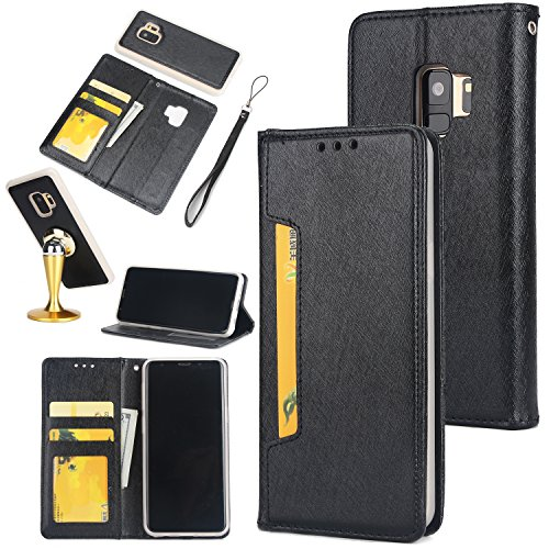 Price comparison product image Gostyle Samsung Galaxy S9 Plus Case, 2 in 1 Detachable Flip Wallet Case with Credit Card Slots, Work with Magnetic Car Mount, PU Leather Protective Cover for Samsung Galaxy S9 Plus, Black