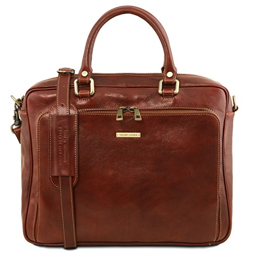 Tuscany Leather Pisa Leather laptop briefcase with front pocket Brown by Tuscany Leather