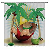 SATVSHOP Easy-Care-Fabric-Shower-Curtain-with-Reinforced-Buttonholes-Cute-Illustration-of-elax-Exotic-Summer-Holidays-on-Hammock-Theme-Hot-Paradise-Lands-.W72-x-L78-inch