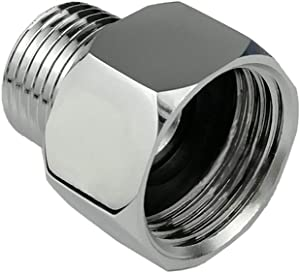 "Metals Brass Pipe Fitting,Adapter 3/4""GHT Female Thread (Swivel) x 1/2"" NPT Male Threaded Connector,Garden Hose Connector, Garden Hose to Shower adapter,Chrome (3/4GHT female X 1/2NPT male)"