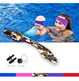KHEJA Jelleo Swimming Headband by with Free Swimming Earplugs - Hold Earplugs In, Physician Developed, Doctor Recommended ­