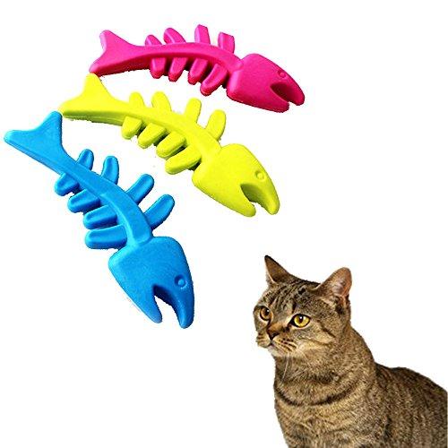 DEESEE(TM)_Pet Cat Puppy Rubber Dental Teeth Chew Bone Play Training Fetch Fun Toys Hot Random Colors