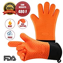 Heat Resistant Rubber food-grade silicone BBQ Gloves with Cotton Lining Baking Custom Kitchen Grill Microwave Oven Waterproof - 1 size fit all (Orange Color)